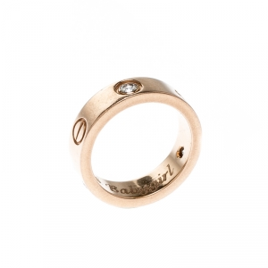 Cartier Love Diamond 18k Rose Gold Band Ring Size 51