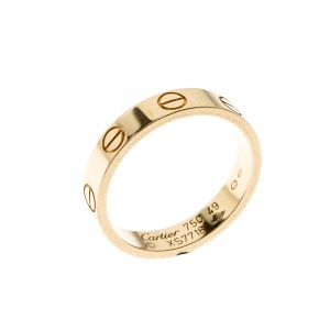 Cartier Love 18k Yellow Gold Mini Band Ring Size 49