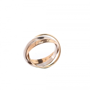 Cartier Trinity De Cartier Three Tone 18k Gold Rolling Band Ring Size 48