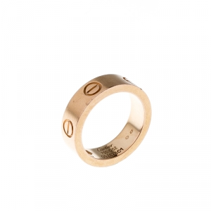 Cartier Love Pink Sapphire 18k Rose Gold Band Ring Size 52