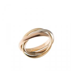 Cartier Vintage Trinity De Cartier Three Tone 18k Gold Band Ring Size 52