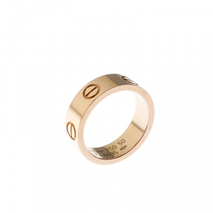 Cartier Love 18k Rose Gold Band Ring Size 50