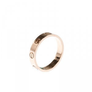 Cartier Love 18k Rose Gold Mini Band Ring Size 50