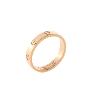 Cartier Love 18k Rose Gold Mini Band Ring Size 58