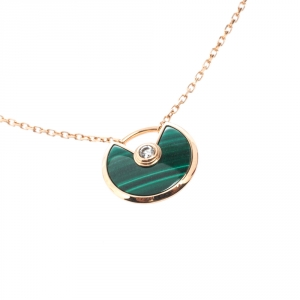 Cartier Amulette De Cartier Malachite 18k Rose Gold XS Pendant Necklace