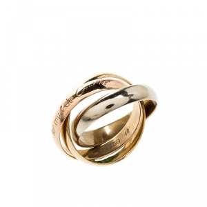 Cartier Les Must de Cartier Trinity Three Tone 18k Gold Band Ring Size 48