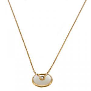 Cartier White Mop Amulette De Cartier Yellow Gold Diamond Necklace
