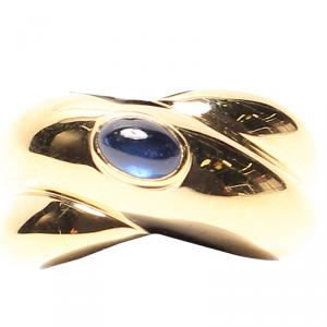 Cartier Blue Sapphire 18K Yellow Gold Ring Size 49