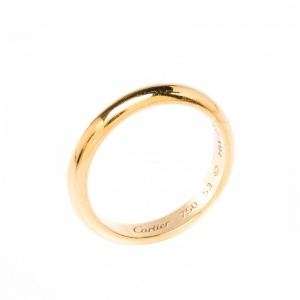 Cartier 1895 Wedding 18k Yellow Gold Band Ring Size 53