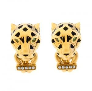 Cartier Panthere de Cartier Diamond Tsavorite Garnet 18k Yellow Gold Earrings