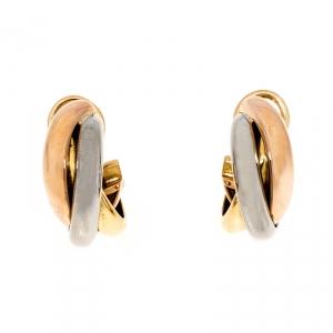 Cartier Trinity De Cartier Three Tone 18k Gold Hoop Earrings