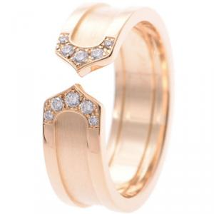 Cartier C De Cartier 18K Rose Gold Diamond Ring Size 55