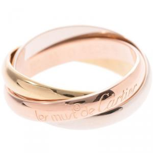 Cartier Les Must De Cartier Trinity 18K Three Tone Gold Band Ring Size 53
