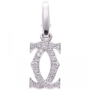Cartier 2C Charm 18K White Gold And Diamond Pendant