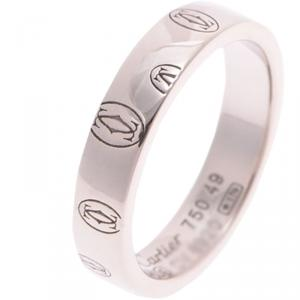 Cartier 18K White Gold Happy Birthday Band Ring Size 49