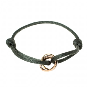 Cartier Trinity Three Tone 18k Gold Green Adjustable Cord Bracelet