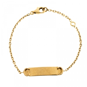 Cartier C Logo Baby ID Bar 18K Yellow Gold Bracelet