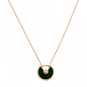 Cartier Amulette De Cartier Malachite Diamond 18k Rose Gold Pendant Necklace