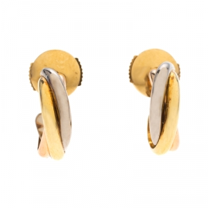 Cartier Trinity de Cartier Three Tone 18k Gold Huggie Earrings