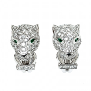 Cartier Panthere De Cartier Diamond Emerald & Onyx 18k White Gold Earrings