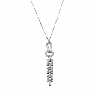 Cartier Agrafe Diamond 18k White Gold Pendant Necklace
