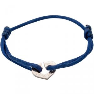 Cartier White Gold C De Cartier Heart On Adjustable Blue Cord