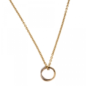 Cartier Trinity 3 Tone 18k Gold Pendant Necklace