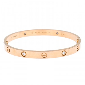 Cartier Love 4 Diamond 18k Rose Gold Bracelet 19