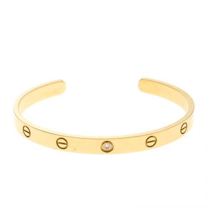 Cartier Love 1 Diamond 18k Yellow Gold Open Cuff Bracelet 19