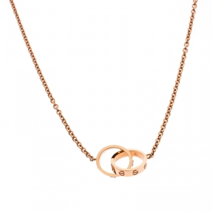 Cartier Love 2 Hoops 18k Rose Gold Necklace