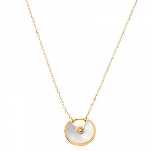 Cartier Amulette De Cartier Mother of Pearl 18K Yellow Gold XS Pendant Necklace