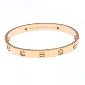 Cartier Love 4 Diamond 18k Yellow Gold Bracelet 16