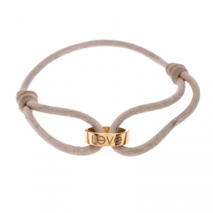 Cartier Love Charm 18k Yellow Gold Pink Cord Adjustable Bracelet