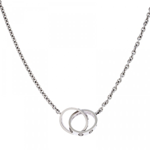 Cartier Love 2 Hoops 18K White Gold Chain Necklace