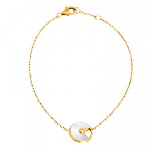 Cartier Amulette De Cartier White Mother of Pearl & Diamond 18k Yellow Gold Bracelet