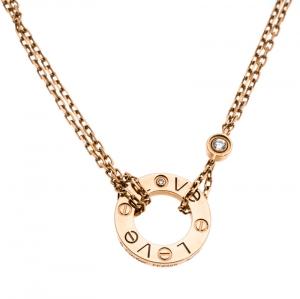 Cartier Love Diamond 18K Rose Gold Double Chain Necklace