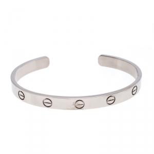 Cartier Love 18K White Gold Open Cuff Bracelet Size 17