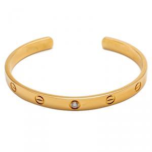 Cartier Love Yellow Gold 1 Diamond Open Cuff Bracelet Size 18