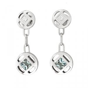 Cartier Pasha Diamond Blue Gemstone 18K White Gold Drop Earrings