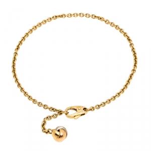 Cartier Trinity Knot Three Tone 18K Gold Chain Link Dangling Charm Bracelet