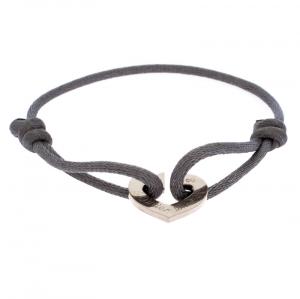 Cartier C De Cartier White Gold Heart On Grey Adjustable Cord Bracelet
