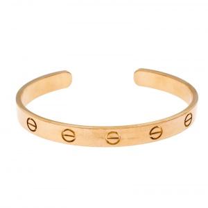 Cartier Love 18K Yellow Gold Open Cuff Bracelet Size 16