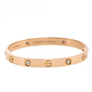 Cartier Love 4 Diamond 18K Rose Gold Bracelet 16