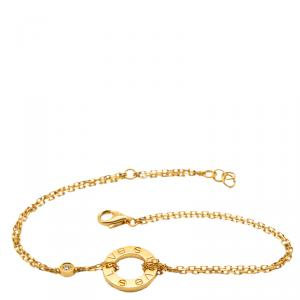 Cartier Love Yellow Gold Diamond Double Chain Bracelet Size 18