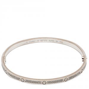 Cartier Love White Gold Pave Diamond Small Model Bracelet Size 18