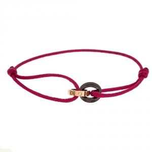 Cartier Love Ceramic Diamond 18K Rose Gold Pink Cord Adjustable Bracelet