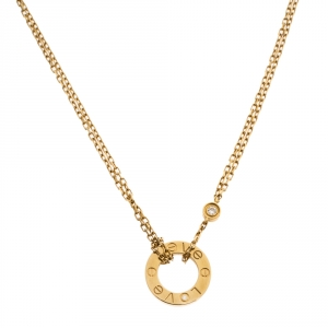 Cartier Love Diamond 18K Yellow Gold Double Chain Necklace