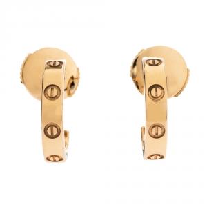 Cartier Love 18K Rose Gold Small Open Hoop Earrings