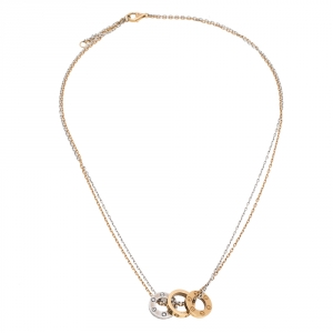 Cartier Love 6 Diamond Two Tone 18K Gold 3 Circular Charm Necklace