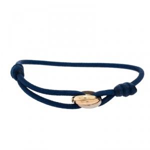 Cartier Trinity De Cartier Three Tone 18k Gold Blue Adjustable Cord Bracelet